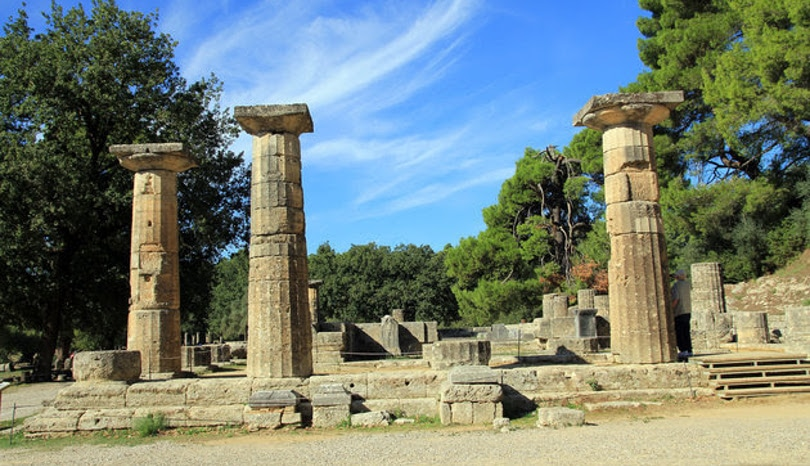 Ruin Of Temple Of Hera (Heraion) In Olympia, Greece